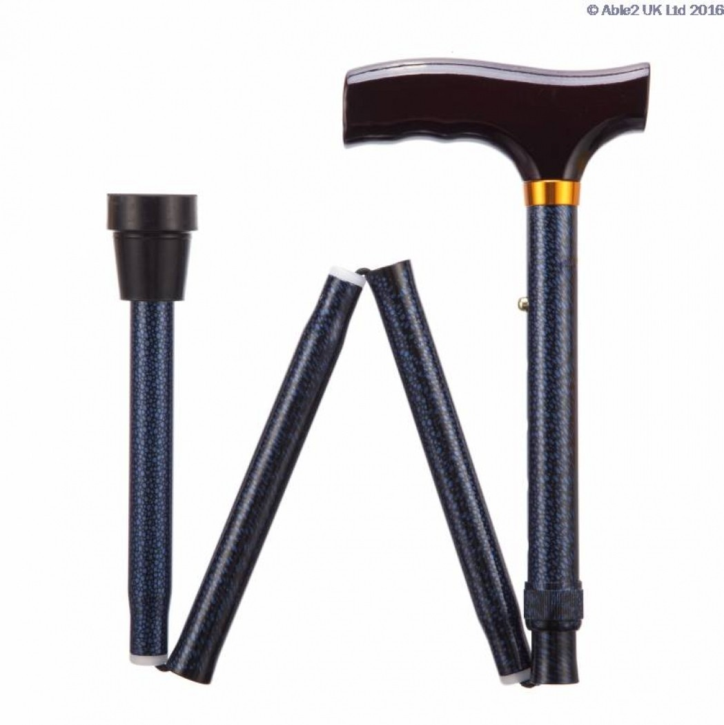 Folding Adjustable Walking Stick - Patterned