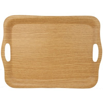 Large Oak Finish Non-Slip Tray