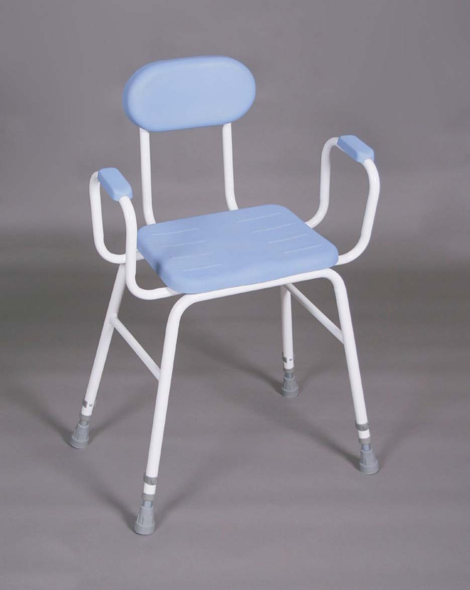 Perching Stool PU Seat - padded arms and padded back